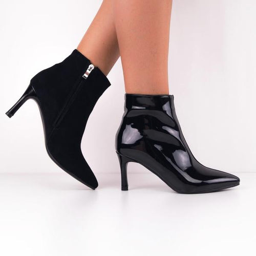 VICKY Duo Black Patent-Suede Ankle Boots with Kitten Heels
