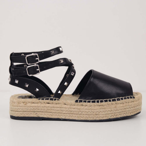 MINDY Black - ESPADRILLES WITH LACES AND STUDS