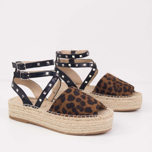 MINDY ESPADRILLES LEOPARD WITH LACES AND STUDS