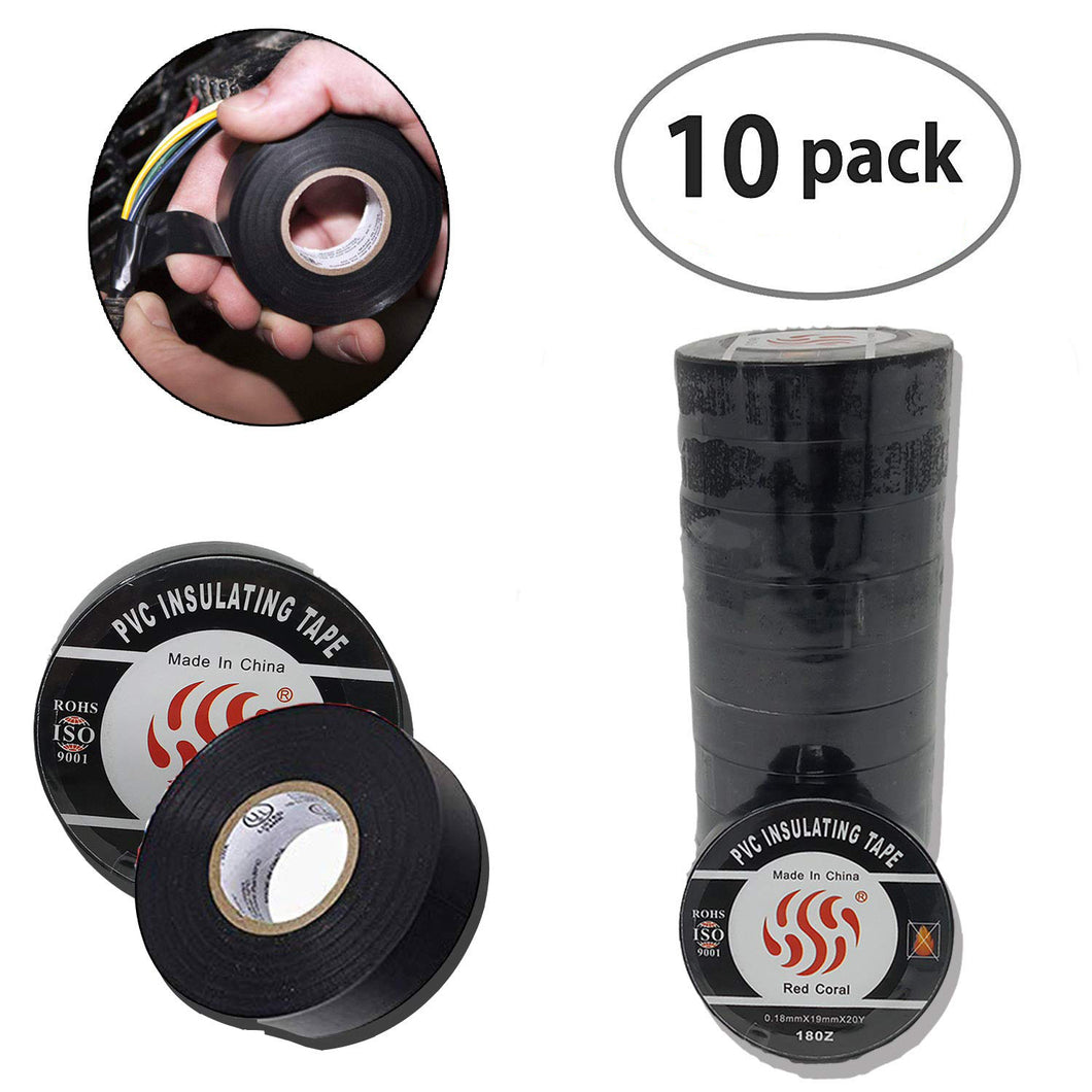 Jumbo 10 Pack 3/4 in x 60 ft Black PVC Electrical Tape - Pro Grade