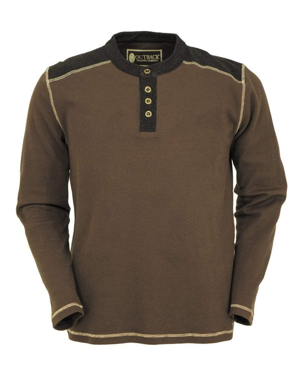 Outback Trading Company Men's Pike Thermal Henley Brown / SM 41100-BRN-SM 789043359695 Shirts & Tops