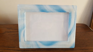glass frame, cremation ash picture frame, blue fused glass frame