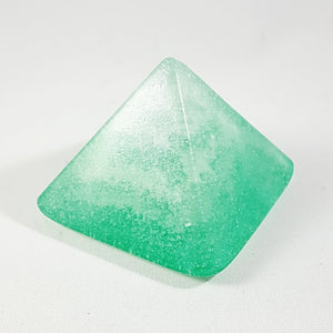 Pyramid paperweight - Sea foam green pyramid with swirled cremation ash inside.