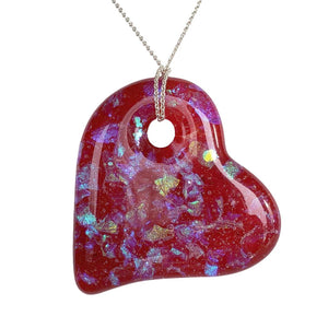 Forevermore Pendant - Ruby Red Kaleidoscope Heart