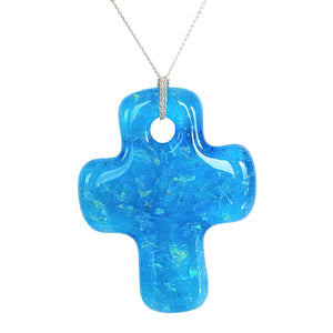 Forevermore Pendant - Blue Skies Kaleidoscope Cross