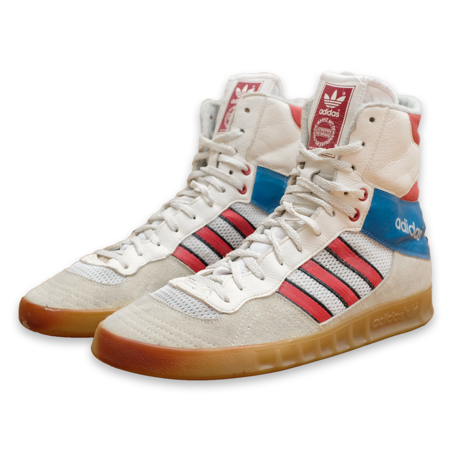 Vintage adidas High Top Boxing Sneaker / made in West Germany — Vintage Klamotten online kaufen bei Double Double Vintage / Retro Style / 90er Looks