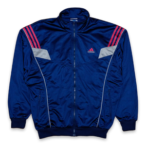 Vintage adidas Trackjacket with Logo on the Chest and Back — Vintage Klamotten online kaufen bei Double Double Vintage / Retro Style / 90er Looks
