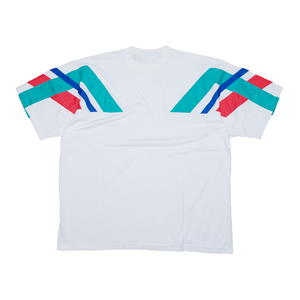 Vintage adidas T-Shirt with Stripes on Sleeves White/Multicolor