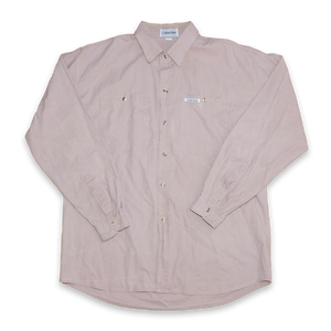 Vintage Calvin Klein Button Up Shirt Light Brown with Logo on Chest Pocket