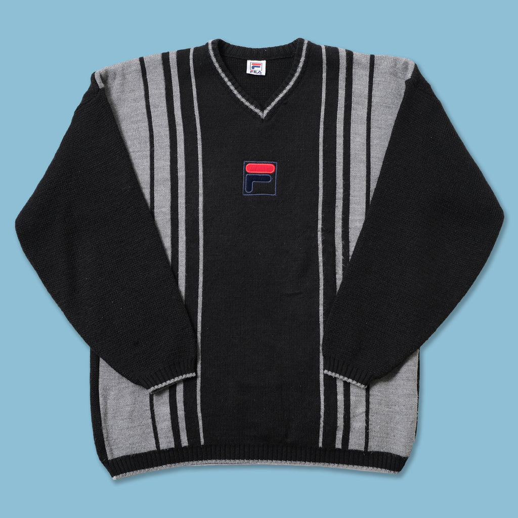 Vintage Fila V-Neck Knit Sweater XLarge