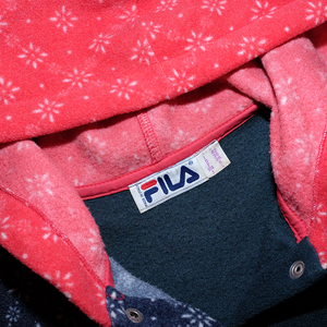 Vintage Fila Hooded Pattern Fleece Medium