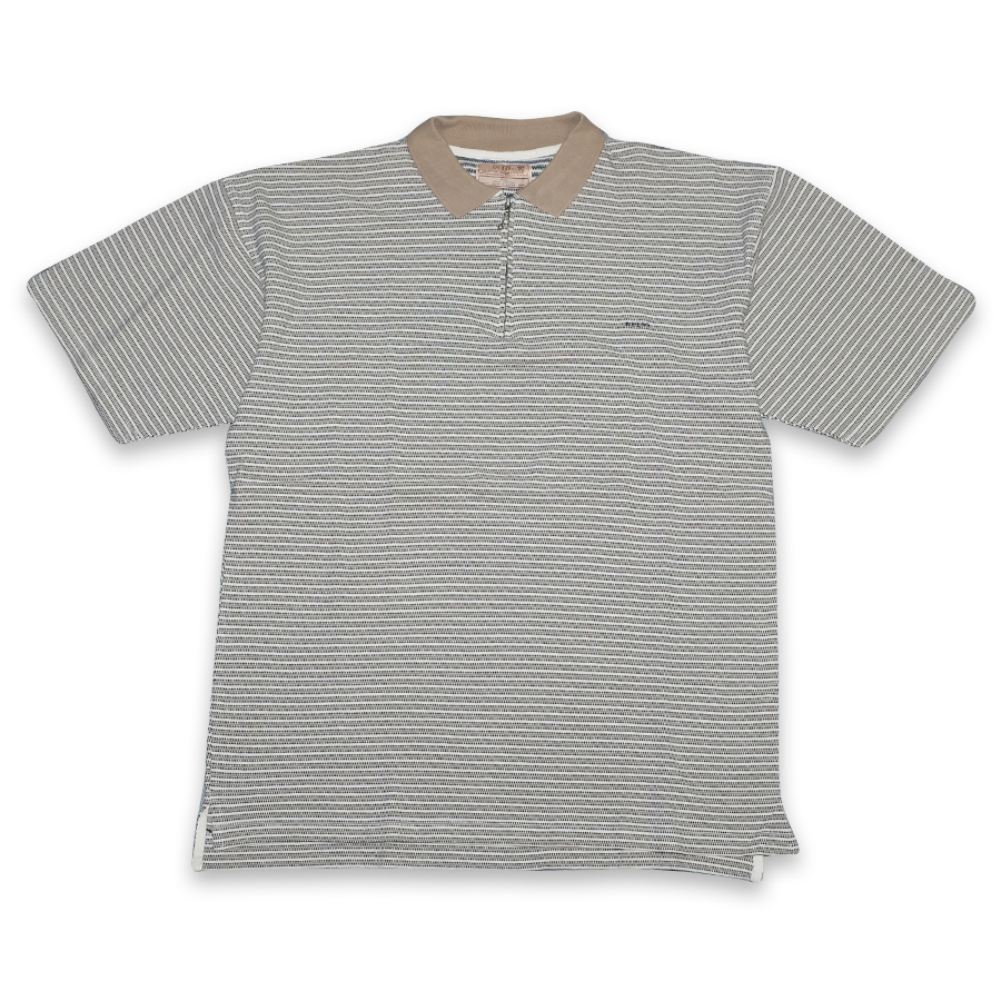 Vintage Guess Striped Zip Polo XLarge