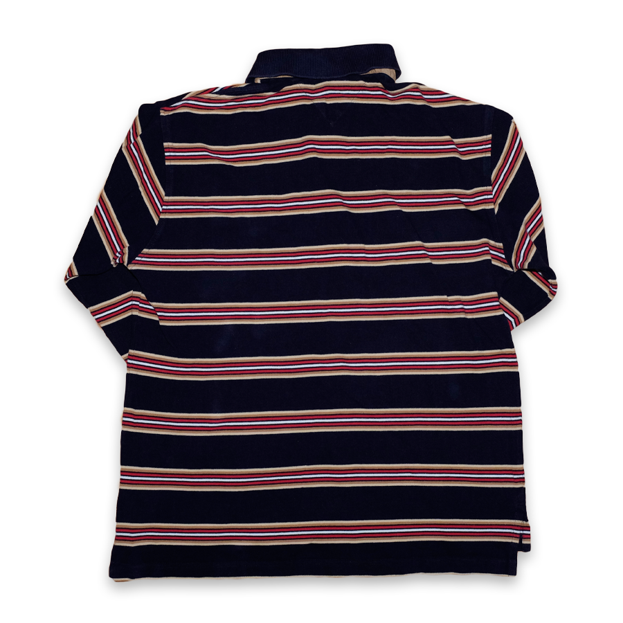 Vintage Tommy Hilfiger Striped Polo Longsleeve Navy / Multi