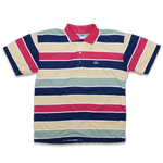 Vintage Lacoste Multicolored Striped Polo Shirt — Vintage Klamotten online kaufen bei Double Double Vintage / Retro Style / 90er Looks — Versand aus Deutschland / Shipping Worldwide