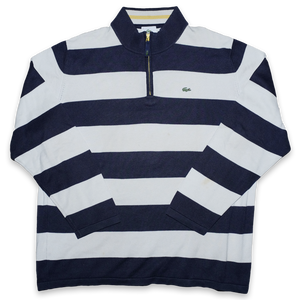 Vintage Lacoste Striped Q-Zip Sweater Large