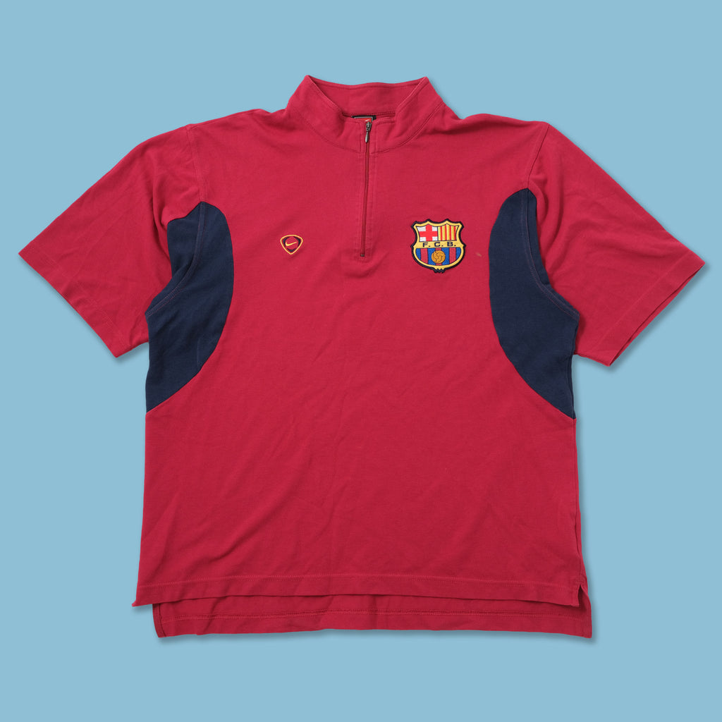 Vintage Nike FC Barcelona Q-Zip T-Shirt Medium