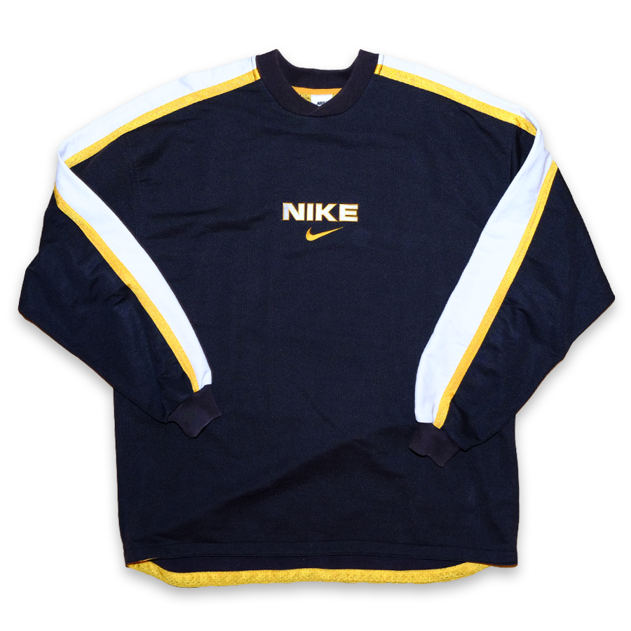 Vintage Nike V-Neck Logo Sweatshirt black / yellow