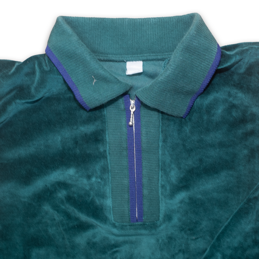 Vintage Velour Half Zip Longsleeve Polo Shirt Green