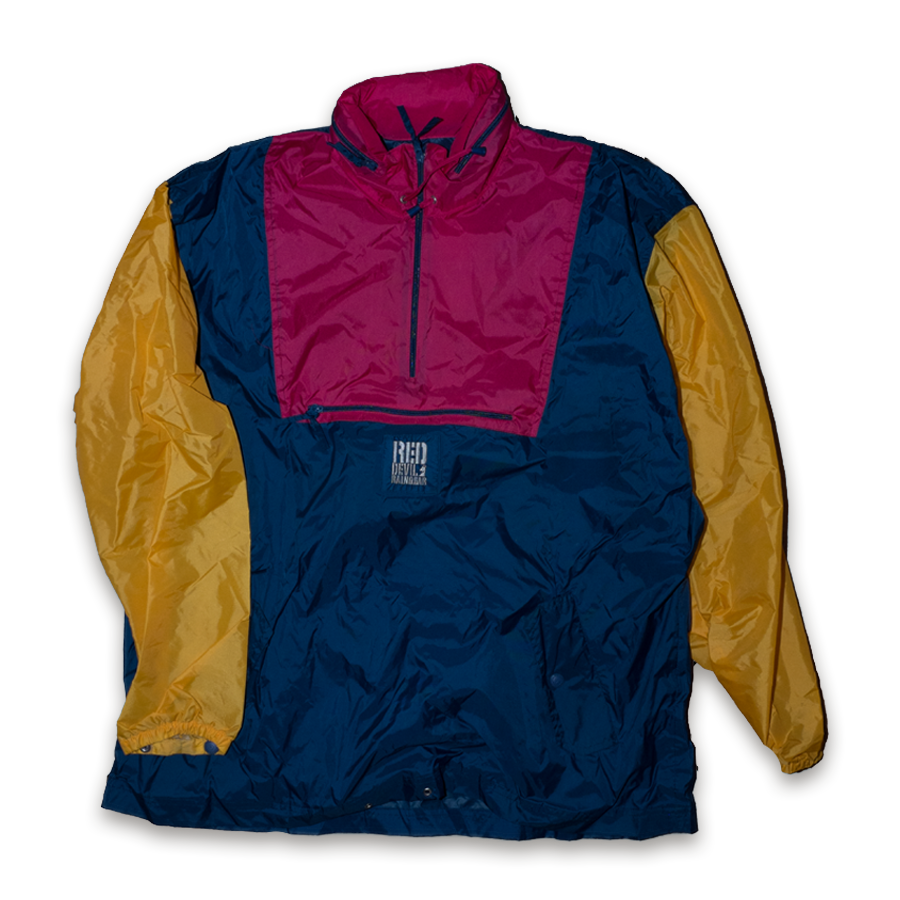 Vintage Half Zip Red Devil Raingear Windbreaker Jacket Multicolor