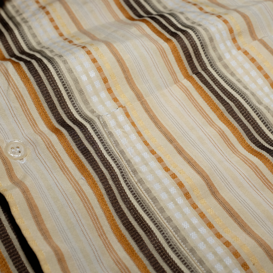 Vintage Vertical Striped Shirt Beige