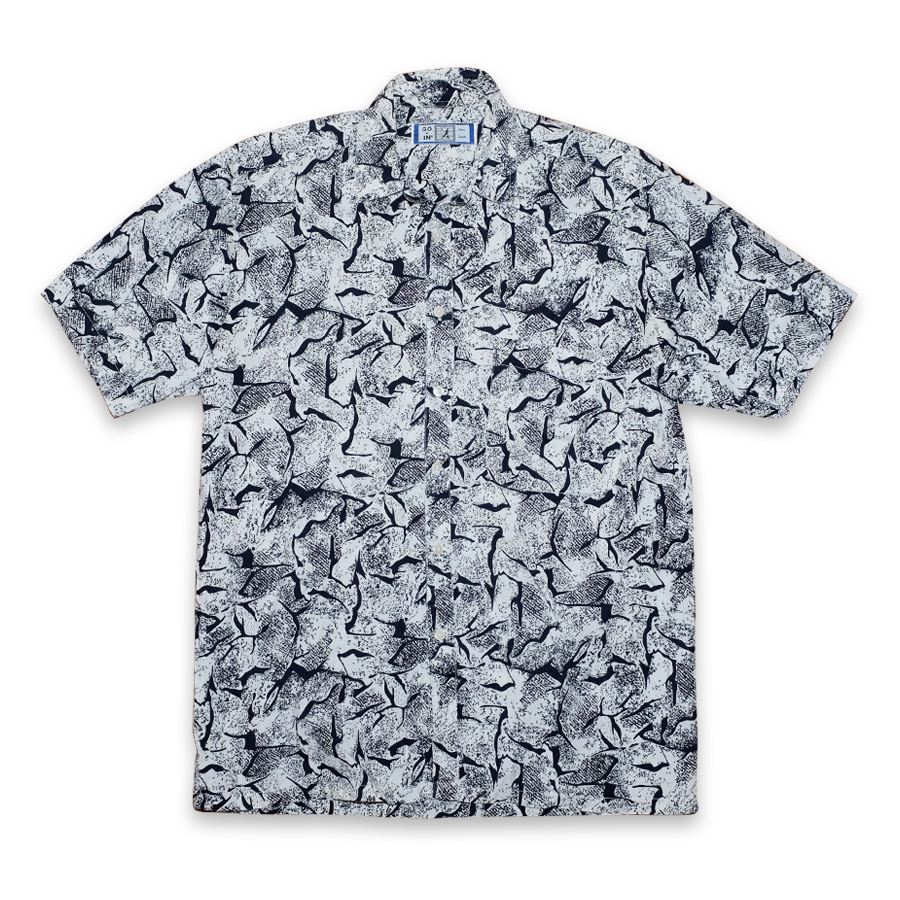 Vintage Abstract Button Up Short Sleeve Shirt White/Black