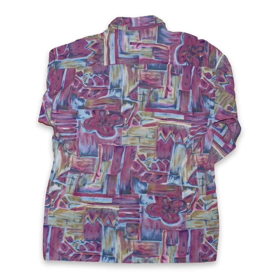 Vintage Abstract Button Up Shirt Multicolor