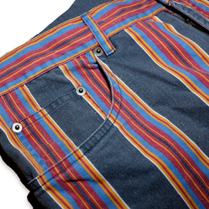 Vintage Jeans Shorts Vertical Stripes Multicolor