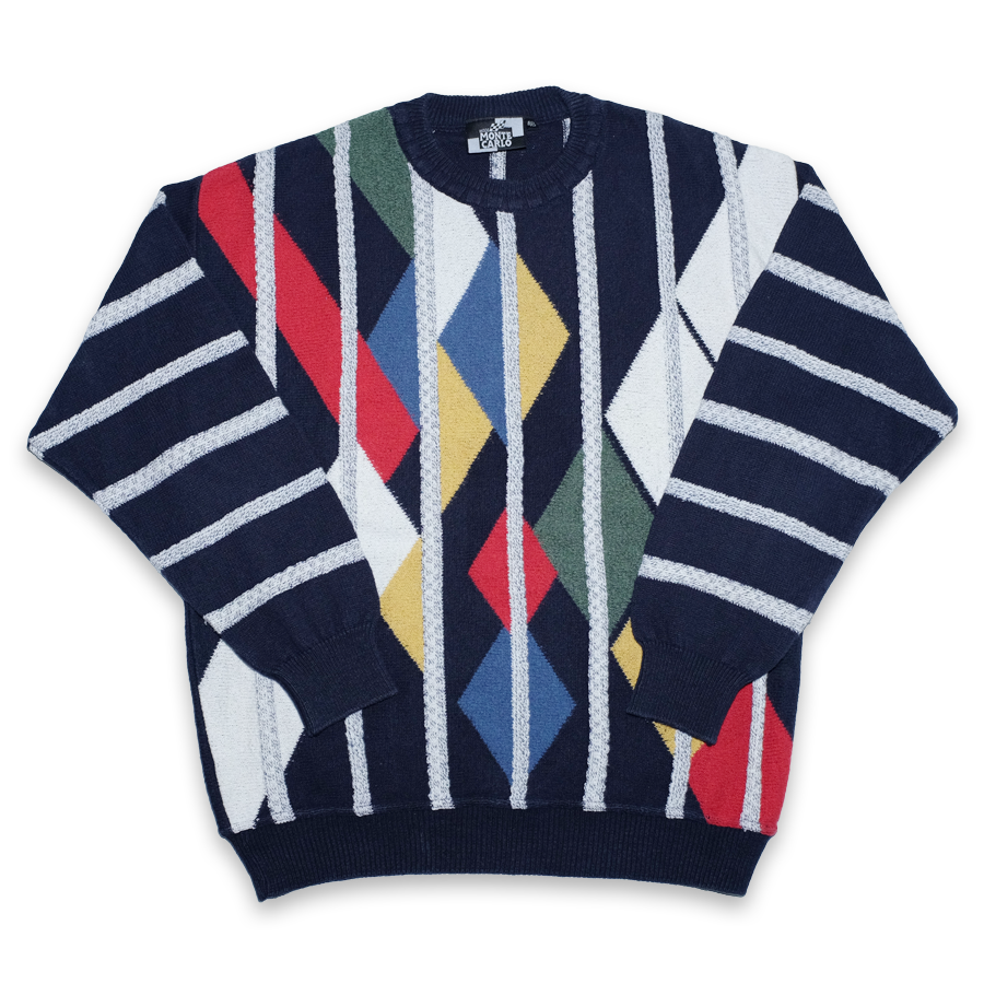 Vintage Monte Carlo multicolored Sweater with crazy Pattern