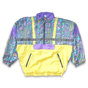 Vintage Half Zip Windbreaker Jacket Multicolor