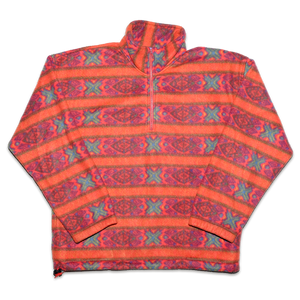 Vintage Q-Zip Fleece with all over abstract Pattern