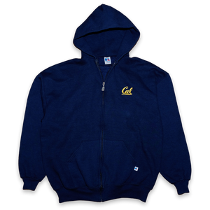 Vintage Russell Athletic Cal Berkeley Zip Hoodie Navy / made in USA — Vintage Klamotten online kaufen bei Double Double Vintage / Retro Style / 90er Looks