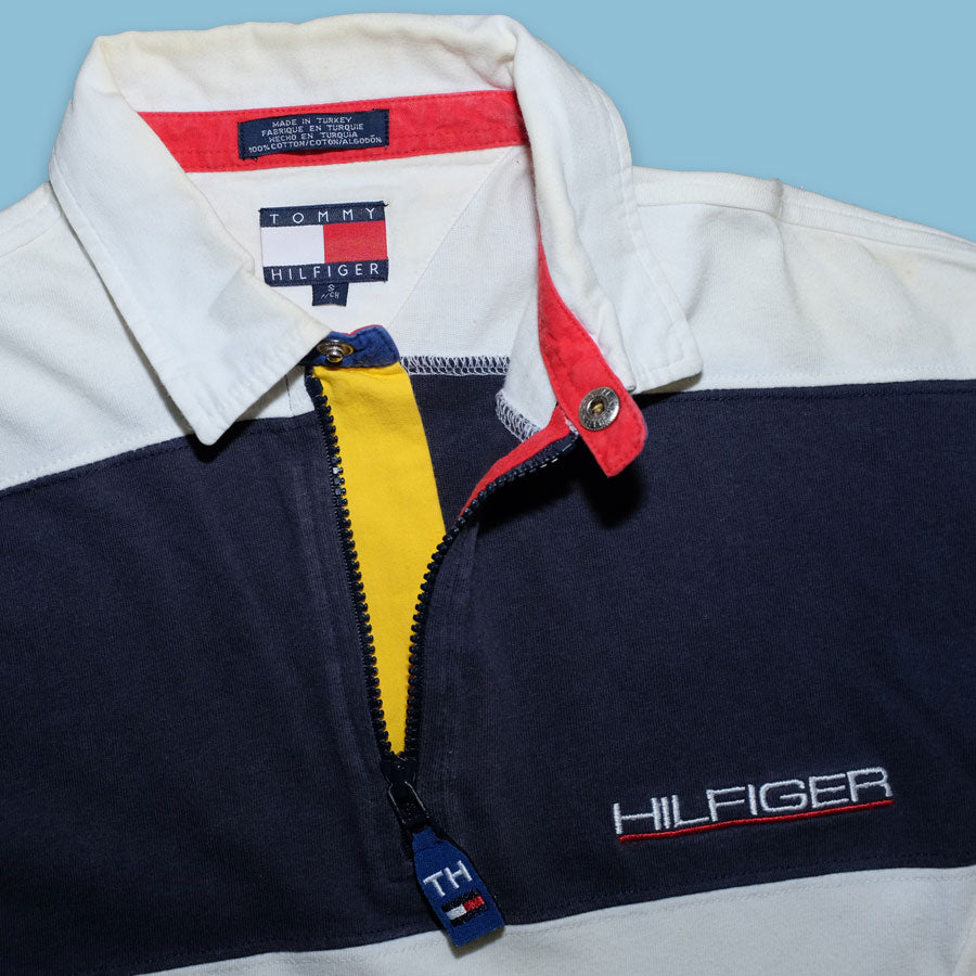 Vintage Tommy Hilfiger Striped Q-Zip Polo Small