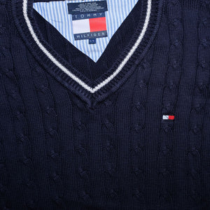 Vintage Tommy Hilfiger V-Neck Knit Sweater Large