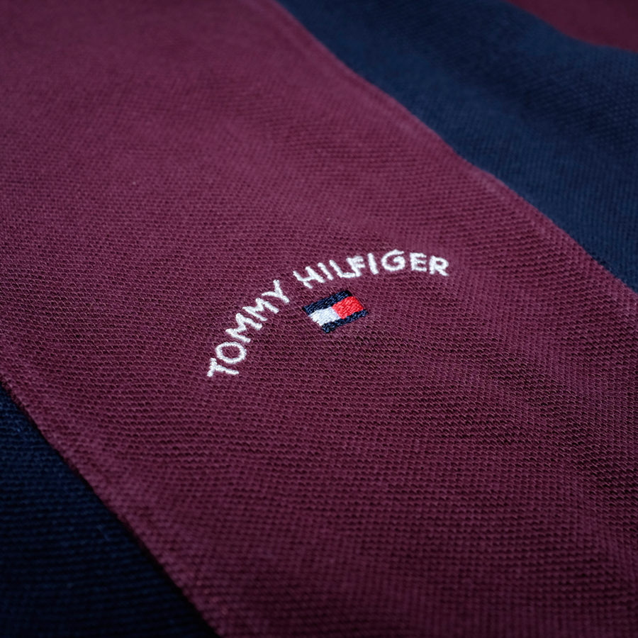 Vintage Tommy Hilfiger Vertical Stiped Poloshirt Navy/Red