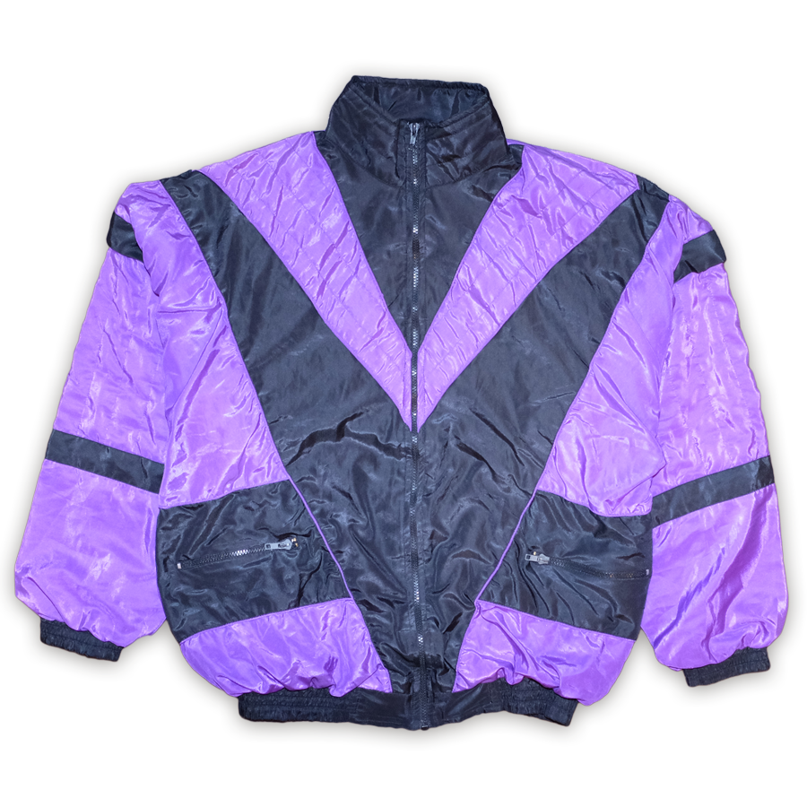 Vintage Color Blocking Trackjacket Purple/Black — Vintage Klamotten online kaufen bei Double Double Vintage / Retro Style / 90er Looks — Versand aus Deutschland / Shipping Worldwide