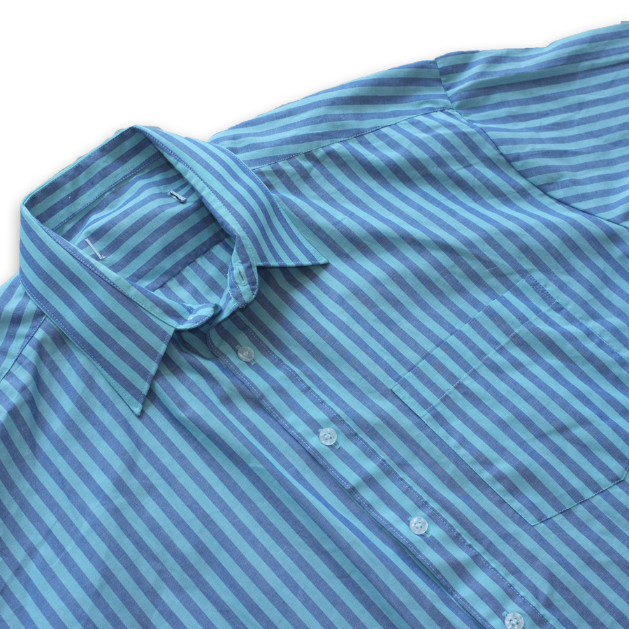 True Vintage Striped Short Sleeve Button Up Shirt Blue