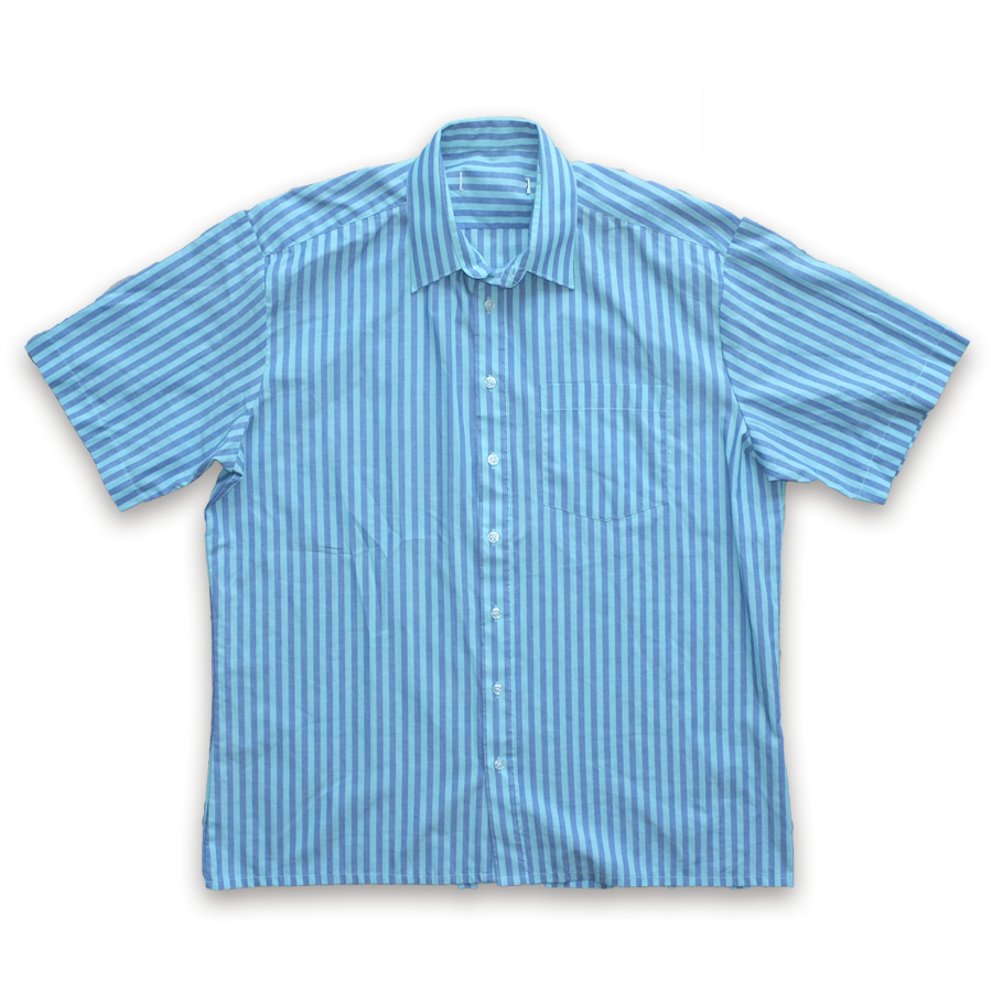 True Vintage Striped Short Sleeve Button Up Shirt Blue — Vintage Klamotten online kaufen bei Double Double Vintage / Retro Style / 90er Looks — Versand aus Deutschland / Shipping Worldwide