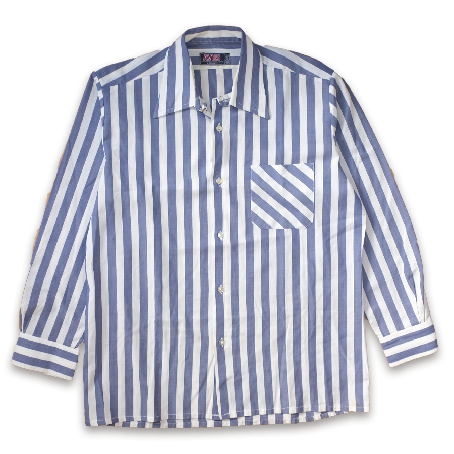Vintage Vertical Stripe Button Up Shirt Blue/White