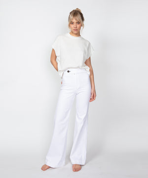 70s Wide Leg White High Rise