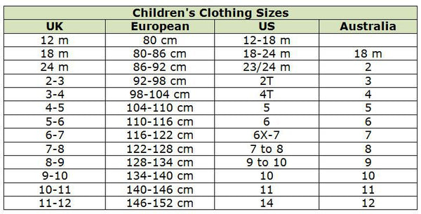 Childrens clothing sizes