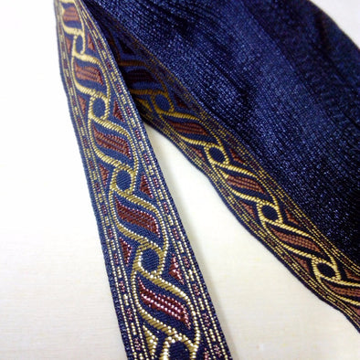 1.8cm 18mm 3/4'' Classic Blue Gold Braided Jacquard Trim Costume Ribbon - Cosplay Infinity