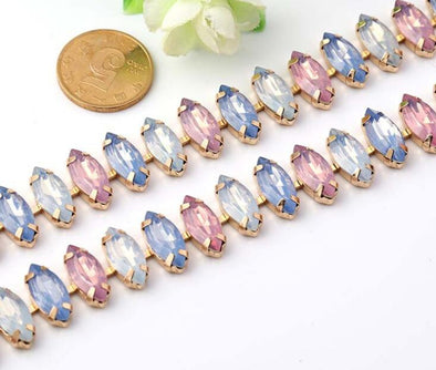 1+Yd Multicolor Rhinestones Eye Shape Gold Plated Flatback Chain Trim - Cosplay Infinity