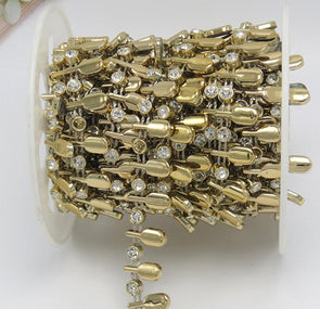 10 Yards Gold Crystals Beaded Drop Leaf Chain Trim Sewing Decoration