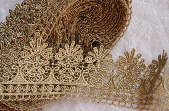 10 yards Metallic Gold Lace Trim, Golden Trimming, Gold Scalloped Lace Fabric Trim