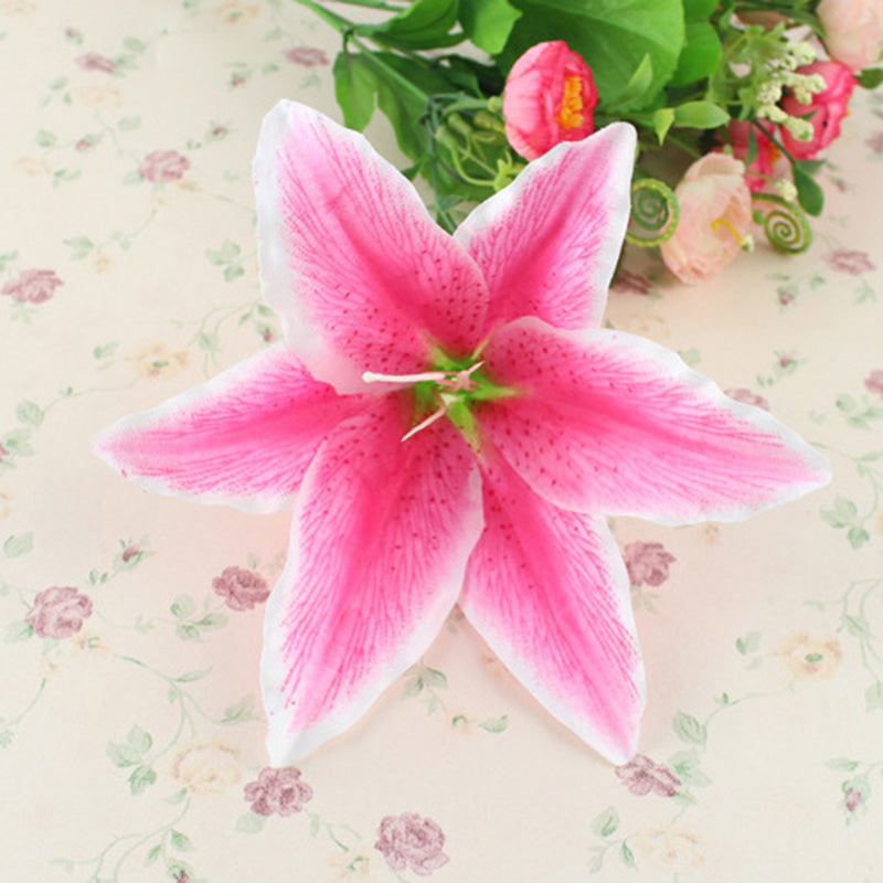 10pcs Large 18cm Lilies Artificial Silk Flower Heads For Wedding