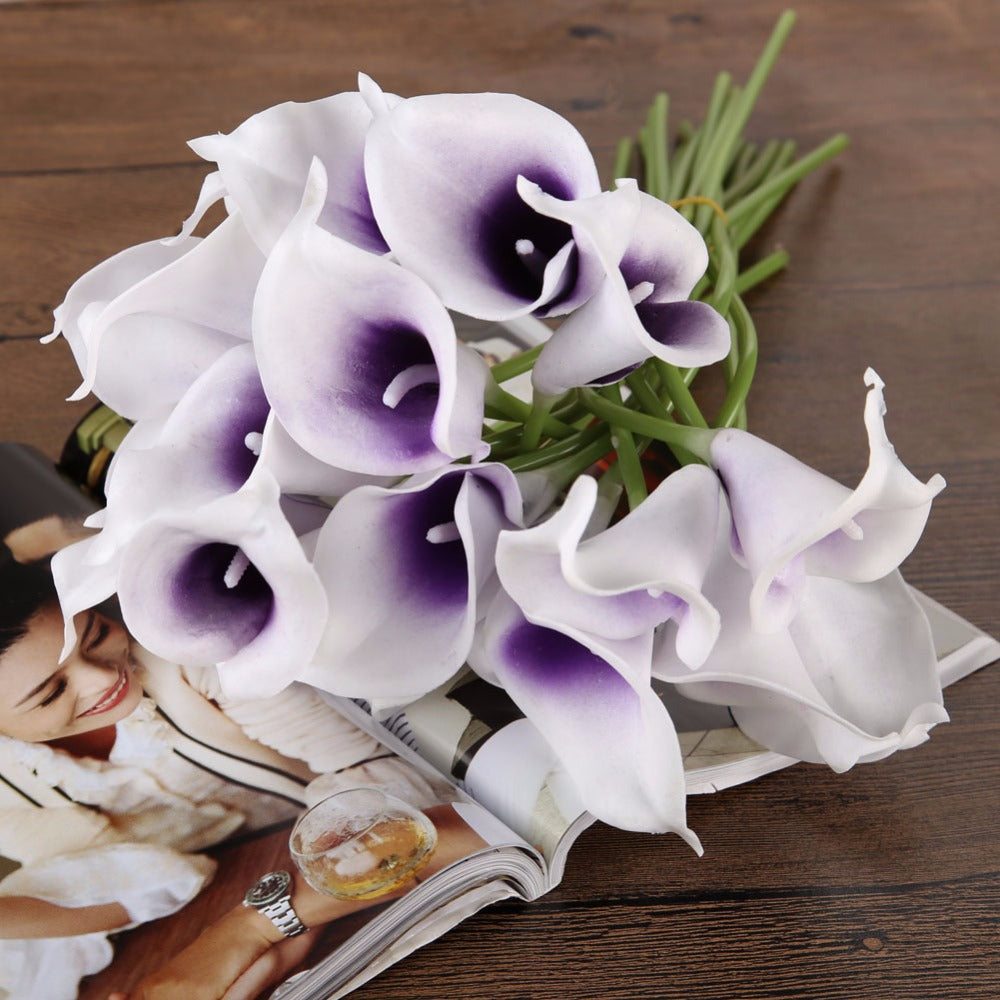 10pcsset artificial flowers calla lily bride bouquet wedding party 10pcsset artificial flowers calla lily bride bouquet wedding party izmirmasajfo
