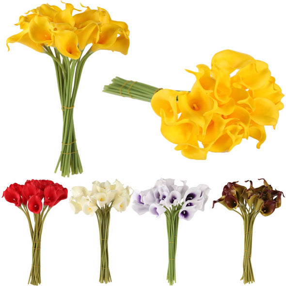 10pcs/set Artificial Flowers Calla Lily Bride Bouquet Wedding Party - Cosplay Infinity