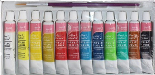 12Colors Professional Acrylic Paints Set Textile Paint Brightly Colored Art Set Brush - Cosplay Infinity