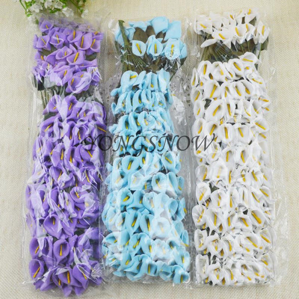 LOT 144 pcs Mini Delicate Calla Lily Artificial Paper Flowers Wedding - Cosplay Infinity