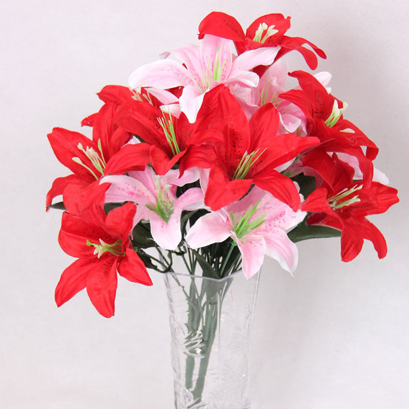 ONE Bunch Multicolor Artificial Lily Flower Bouquet Bridal Flowers ...